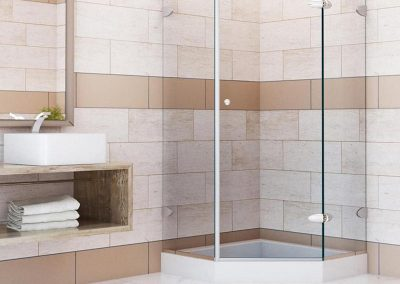 Neo-angle glass shower door